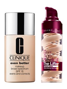 To treat lines, Maybelline New York Instant Age Rewind The Lifter Foundation, $13.99; ulta.com, contains peptides. And derms rave about the blend of spot faders in Clinique Even Better Makeup, $26; amazon.com.   - Redbook.com