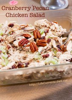 Cranberry Pecan Chicken Salad is perfect for any party! And it's really easy to make. https://lifecurrentsblog.com