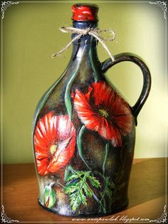 ПЛОДЫ МОЕГО ВООБРАЖЕНИЯ: ДЕКУПАЖ - бутылки Hand Painted Wine Glasses, Painted Wine Bottles, Lighted Wine Bottles, Bottles And Jars, Glass Bottle Crafts, Diy Bottle, Bottle Art, Decoupage Glass, Decoupage Vintage