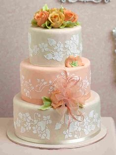 """The """"peaches and cream cake"""" as pictured in wedding cake art and Elegant Wedding Cakes, Beautiful Wedding Cakes, Gorgeous Cakes, Pretty Cakes, Amazing Cakes, Bolo Fack, Cream Wedding Cakes, Bolo Minnie, Dream Cake"""