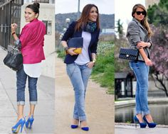 Zapatos azules con jeans Source by idcce shoes outfit Outfit Jeans, Blue Heels Outfit, Heels Outfits, Jean Outfits, Casual Outfits, Outfits With Blue Shoes, Cobalt Blue Heels, Royal Blue Pumps, Work Dresses With Sleeves