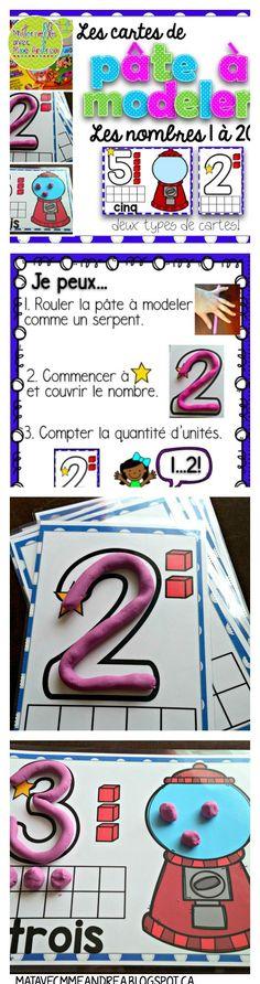 Deux types de cartes de pâte à modeler pour les nombres 1 à 20. $