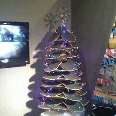 Creative christmas tree at skate shop