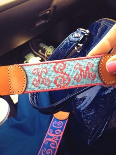 Monogrammed key fob, marley lily, with a blue or purple color for my initials