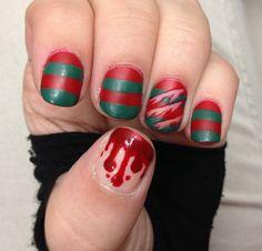Freddy Krueger Halloween nails