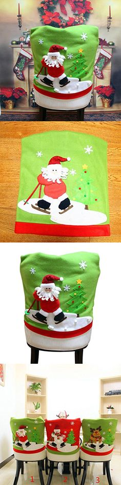 Gillberry Christmas Santa Claus Chair Back Cover Snowman Elk Ski Dinner Table Party Decor A