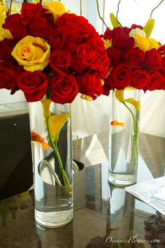 Red and Yellow Roses Large Centerpiece with a Goldfish