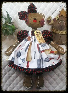 """Primitive Lg. Raggedy Gingerbread Doll """"COOKIE""""  from Ginger Creek Crossing"""