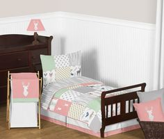 Woodsy Coral, Mint and Grey Toddler Bedding Collection (Woodsy-CR-MT-Tod) Ideas Hogar, Grey Bedding, Luxury Bedding, Flat Sheets, Bed Sheets, Bedding Collections, Comforter Sets, Sheet Sets, 1 Piece