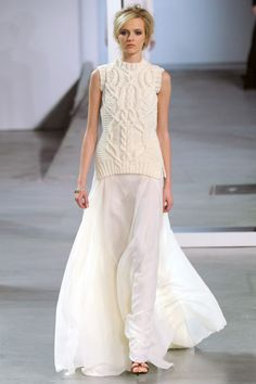 Derek Lam fall 2012: chunky knit over flowy maxi skirt