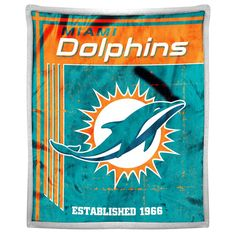 Miami Dolphins NFL Mink Sherpa Throw (50in x 60in)