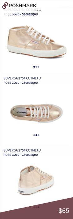 Superga Rose gold midtop sneaker-style 2754 Superga rose gold, super stylish, trendy, and comfortable sneaker. Purchased brand new but was too big for me. Never been worn. Women's Size 7!                                             Shine on in our 2754 Cotmetu metal effect Superga mid top trainers. Prepare for the party season with our favourite metallic shoes, the easiest way to step up any outfit.     Upper in cotton coated with metallic effect Lining in cotton Outsole in natural rubber…