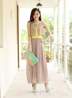 Graceful Slim Split Joint Round Neckline Sleeveless Pure Color Chiffon Maxi Dress, Split