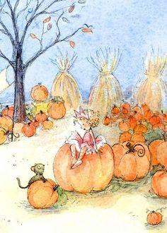 Cards Pumpkin Fairy Postcard ~ By Becky Kelly Halloween Illustration, Children's Book Illustration, Autumn Fairy, Artists For Kids, Fairytale Art, Flower Fairies, Cute Art, Watercolor Art, Drawings