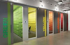 Conference rooms at Pandora Media by Studios Architecture are themed to bold colors.