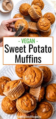 Try these vegan Sweet Potato Muffins made with easy ingredients in 30 minutes. T… Try these vegan Sweet Potato Muffins made with easy ingredients in 30 minutes. They are kid-friendly and nutritious – great for breakfast or school lunchbox Vegan Dessert Recipes, Vegan Breakfast Recipes, Vegan Sweets, Whole Food Recipes, Recipes Dinner, Kids Vegan Meals, Lunch Recipes, Vegan Recipes For Kids, Healthy Vegan Meals