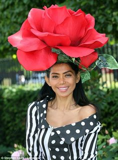 2014 Royal Ascot Hat: In bloom: Racegoer Eliza Cortez in a huge rose-inspired hat hats inspiration And they're off! Royal Ascot gets underway Crazy Hat Day, Crazy Hats, Funky Hats, Red Hats, Caroline Reboux, Royal Ascot Hats, Fascinator Hats, Fascinators, Headpieces