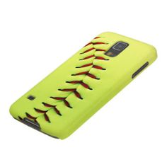 Yellow softball ball case for galaxy s5