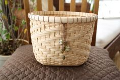 Hand Woven Basket Medium Reed V-Twill Gift or by jasperjane