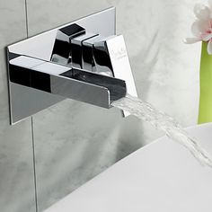Sprinkle® by Lightinthebox - Widespread Waterfall Bathroom Sink Faucet Chrome Finish – USD $ 59.99