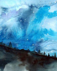 Les nuits étoilées - aquarelle originale par Jessica Durrant