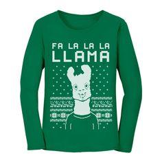ae871965d Fa La La Llama Ugly Christmas Sweater Funny Xmas Women Long Sleeve T-Shirt