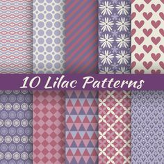 Buy Lilac Different Seamless Patterns by KannaA on GraphicRiver. 10 Lilac different vector seamless patterns (with square swatches). Endless texture can be used for elegant dream wal. Paper Background, Background Patterns, Digital Paper Free, Digital Papers, Camping Crafts, Butterfly Pattern, Paint Shop, Paper Beads, Printable Paper