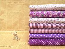 Urijk 7PCs/set 25*25cm Purple DIY Patchwork Fabrics Sewing Cloth Quilting Cotton Fabric Needlework Tissue Doll Bedding Textile(China (Mainland))