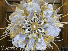Gold and Silver Snowflake Deco Mesh Wreath by DeanasDecoDesigns