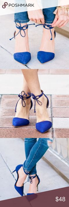 Blue lace up pumps Gently worn blue suede pumps with adjustable laceup ankle detail Steven by Steve Madden Shoes Heels