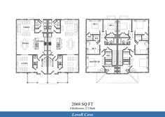 NAS Patuxent River – Lovell Cove Neighborhood: 3 bedroom 2.5 bathroom townhome floor plan (2068 SQ FT both floor plan types shown above).