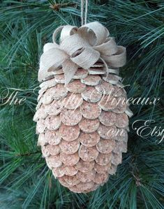 Large Wine Cork Pine Cone Christmas Ornament, Pineapple Ornament - Recycled Wine Corks, Twine H bottle crafts pineapple Large Wine Cork Pine Cone Christmas Ornament, Pineapple Ornaments - Recycled Wine Corks, Twine Hung with Burlap Ribbon Wine Craft, Wine Cork Crafts, Bottle Crafts, Christmas Crafts, Christmas Wreaths, Christmas Ornaments, Christmas Christmas, Pineapple Ornament, Wine Cork Projects