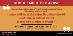 How do you create #business around your #artwork? Give us your answers! http://clarkhulingsfund.org/accelerator/ #anonymousartists