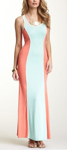 Colorblock Sleeveless Racerback Dress... great for accentuating curves
