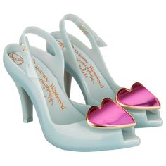 Vivienne Westwood Blue Ladydragon Heart Womens Peep Toe Shoe