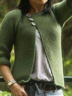 Garter Stitch Swingy Sweater pattern by Jenn Pellerin - trachtenjacke sitricken Knitting Patterns Free, Knit Patterns, Free Knitting, Free Pattern, Knitting Sweaters, Sewing Patterns, Sock Knitting, Sweater Patterns, Vintage Knitting