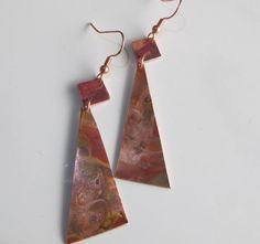 Raku Copper Dangle Earrings by DixSterling on Etsy