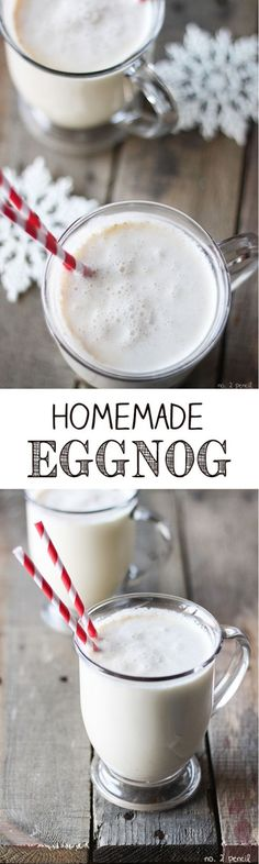 Homemade Eggnog Easy Homemade Eggnog - takes only five minutes to make and tastes so much better than store bought!Easy Homemade Eggnog - takes only five minutes to make and tastes so much better than store bought! Christmas Drinks, Holiday Drinks, Christmas Treats, Christmas Baking, Holiday Treats, Holiday Recipes, Christmas Christmas, Xmas, Christmas Recipes