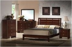 4 pc madrid collection queen merlot finish wood with plank look headboard bedroom set