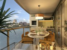 varanda gourmet apartamento - Pesquisa Google Porch And Balcony, Outdoor Furniture Sets, Outdoor Decor, Sunroom, Sweet Home, Dining Table, Patio, Mansions, Interior Design