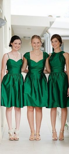 Alfred Sung Pine Green Bridesmaid Dresses
