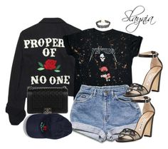 """""""Untitled #749"""" by slaynia ❤ liked on Polyvore featuring High Heels Suicide, Forever 21, Manolo Blahnik and Chanel"""