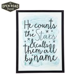 He Counts the Stars & Call Them All By Name Tin Sign⎢Open Road Brands