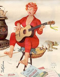 Hilda with Guitar sings, Reproduction watercolor Duane Bryers calendar illustration Pinup Wall Art print poster Vintage pin up girl 1009 Arte Pin Up, Pin Up Art, Rolf Armstrong, Pin Up Girls, Animation, Gil Elvgren, Gif Animé, Animated Gif, Poster