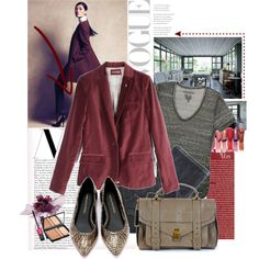 Blazing Burgandy by shoezgal on Polyvore featuring мода, Zadig & Voltaire, 7 For All Mankind, Loeffler Randall, Proenza Schouler, Guerlain,…