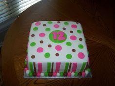 Heather Calvin Cakes: 12 year old birthday cake with strips and polka dots