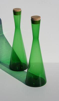 2 Mid Century Modern Kastrup Holmegaard Green Glass door Modnique