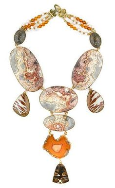 Tony Duquette (American, 1914-1999), 'Symbolizes Understanding Between Generations', 1990s. A lace agate, snakeskin jasper, agate slice, biwa pearl, amber and vermeil necklace wtih tortoiseshell pendant, length 19 1/2in (49.5cm). Sold for $3,050
