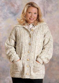 Box Stitch Cardigan Knit in Lion Brand Wool-Ease Chunky - 1195A | Knitting Patterns | LoveKnitting