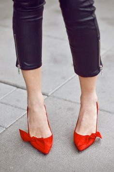 Leather + red heels